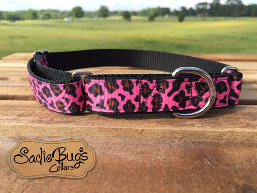 "Pink Leopard Martingale Collar Dog Collar 1"" 1.5"" Adjustable dog collar"