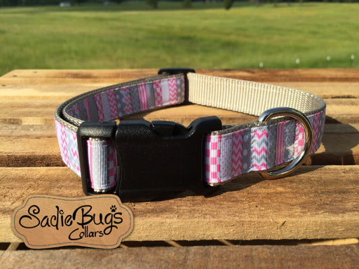 Pink Chevron dog collar, modern dog collar, polka dot dog collar
