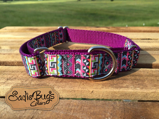 "Aztec Geometric shape Martingale Collar Dog Collar 1"" 1.5"" Adjustable dog collar"