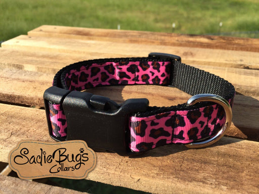 Pink leopard dog collar, animal print dog collar, quick release dog collar