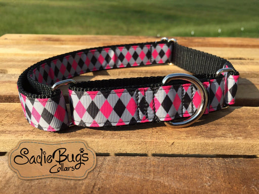 "Diamond Martingale Pink and Black Collar Dog Collar 1"" Adjustable dog collar"