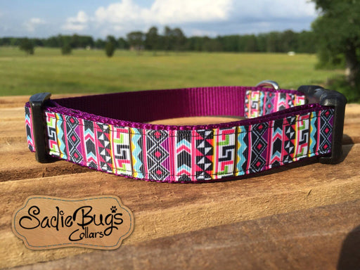 Aztec Geometric dog collar, modern dog collar, quick release dog collar