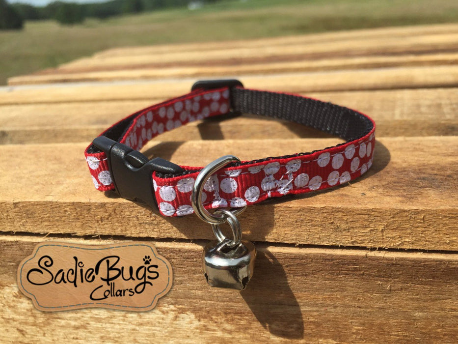 Alabama Crimson Tide cat collar, Red and White Polka Dot