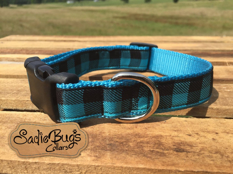 Turquoise and Blue Plaid dog collar - Retro print