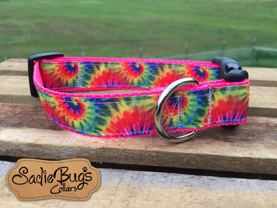 Tye Dye dog collar, tie-dye dog collar, modern dog collar, colorful dog collar