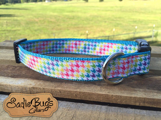 Colorful Houndstooth dog collar