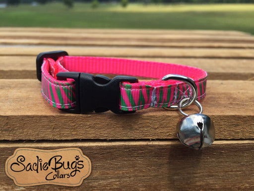 Zebra stripe cat collar - Watermelon and Lime green