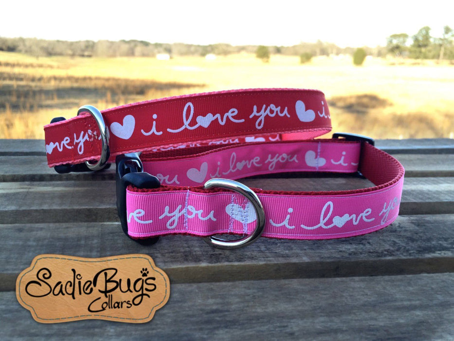 Valentines Day dog collar - Pink I Love You collar