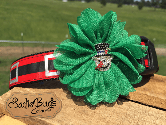 Snowman Flower - Flower Dog Collar Attachment - Green