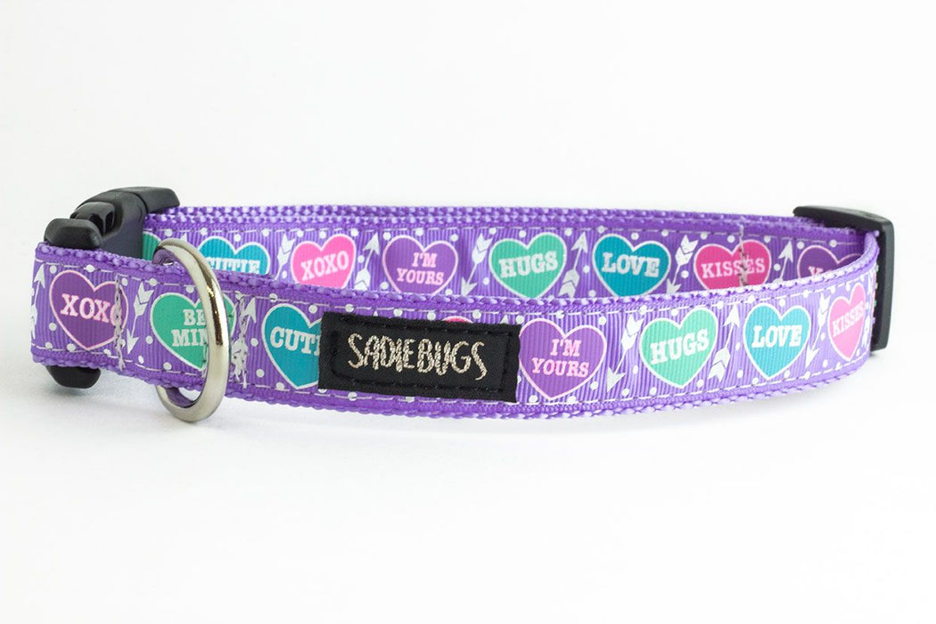Valentines Conversation Heart dog collar, Lavender