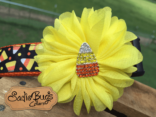 Candy Corn Yellow Flower - Flower Collar Attachment