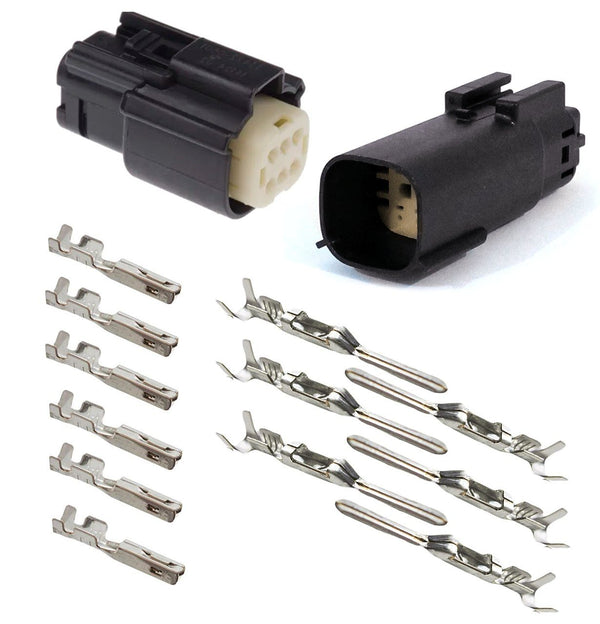 Molex MX150 BLACK 6 Pin Wire Sealed Connector Set Male and Female with Pins for Harley and Jeep