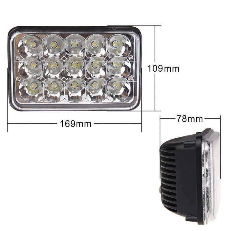 4 X 6 LED Headlights - Eagle Lights 4x6 45W LED Headlights Sealed Beam Replacement For H4651 H4652 H4656 H4666 H6545 And More - 2 Pieces