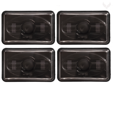 4 X 6 LED Headlights - Eagle Lights Black 4 X 6 LED Headlights - Four Pack (Two High Beam / Two Low Beam)