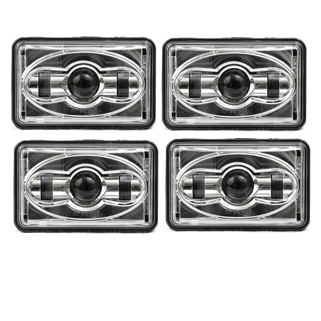 4 X 6 LED Headlights - Eagle Lights Chrome 4 X 6 Chrome LED Headlights - Four Pack (Two High Beam / Two Low Beam)