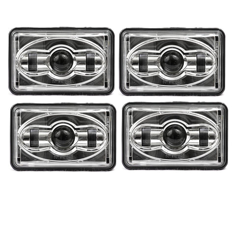 Eagle Lights Chrome 4 x 6 Chrome LED Headlights - Four Pack (Two High Beam / Two Low Beam)