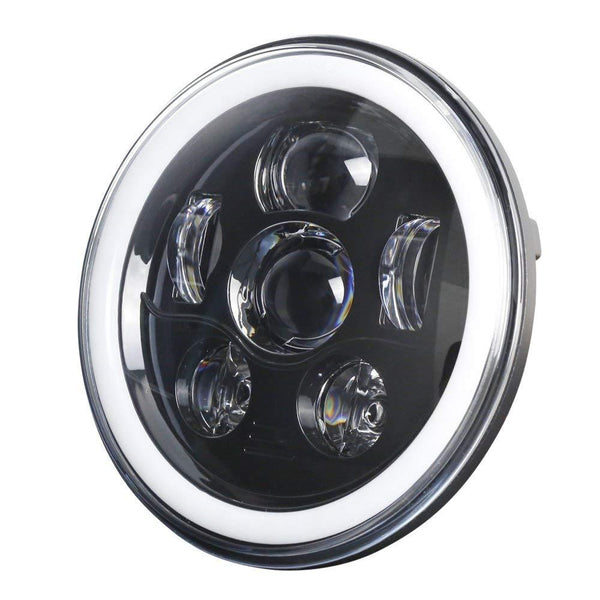 "7"" Halo LED Headlight And Halo Passing Lights - Eagle Lights 7"" Round LED Projection Headlight Generation III With Matching Passing Lights- Black - Halo Ring*"