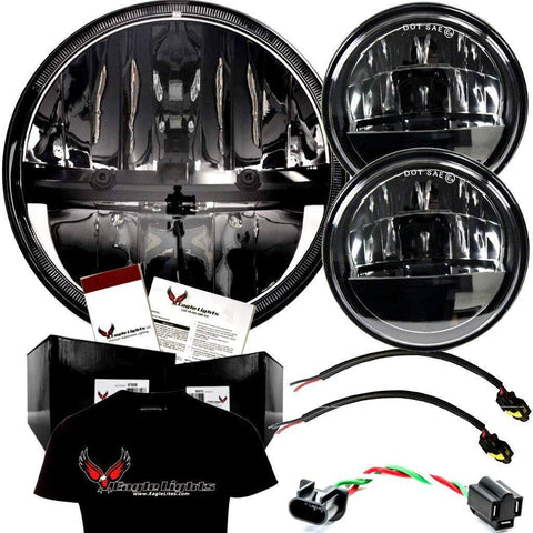 "7"" LED Headlight And Passing Lights - Eagle Lights Complex Reflector Series 7"" Round LED Headlight With LED Passing Lights For Harley Davidson"