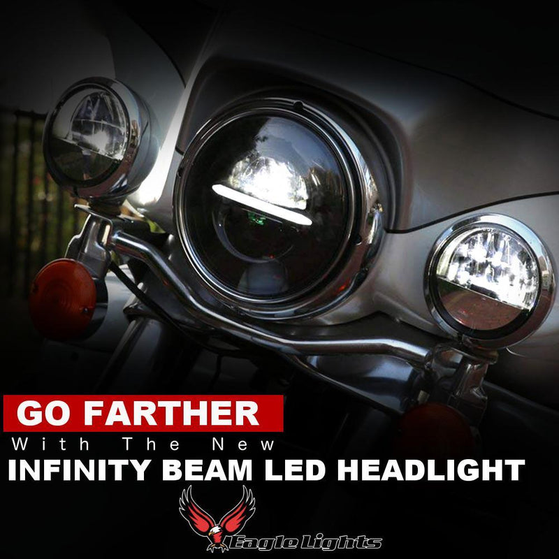 "5 ¾"" Halo & DRL LED Headlights - Eagle Lights Infinity Beam Series 5-3/4"" Round LED Headlight For Harley Davidson And Indian Motorcycles"