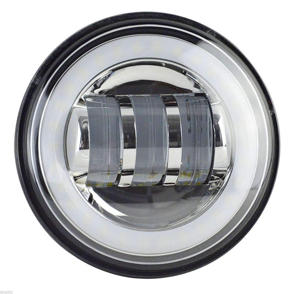 "7"" Halo LED Headlight And Halo Passing Lights - Eagle Lights 7"" Round Projection LED Headlight Generation III With Matching Passing Lights- Chrome - Halo Ring*"