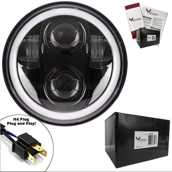 "5 ¾"" Halo & DRL LED Headlights - Eagle Lights 5 3/4"" Round Projection LED Headlight With Full Halo Ring*"