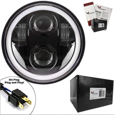 "Eagle Lights 5 3/4"" Round Projection LED Headlight with Full Halo Ring*"