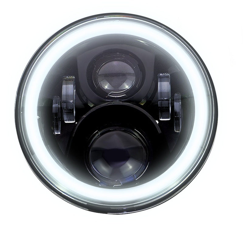 "Eagle Lights 7"" Round LED Projection Headlight Generation II- Black - Halo Ring - Jeep Wrangler"