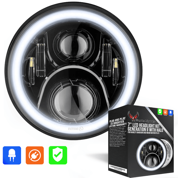 "Eagle Lights 7"" LED Headlight with LED Halo Ring for Harley Davidson and Indian Motorcycles - Generation II / Black Kit"