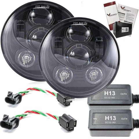"7"" LED Headlight Kits - Eagle Lights 7"" Round LED Generation III - Black - Jeep Wrangler - Double Pack"