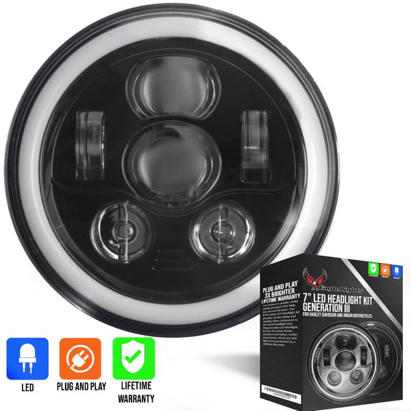 "Eagle Lights 7"" LED Headlight Kit with Halo Ring for Harley Davidson and Indian Motorcycles - Generation III / Black"