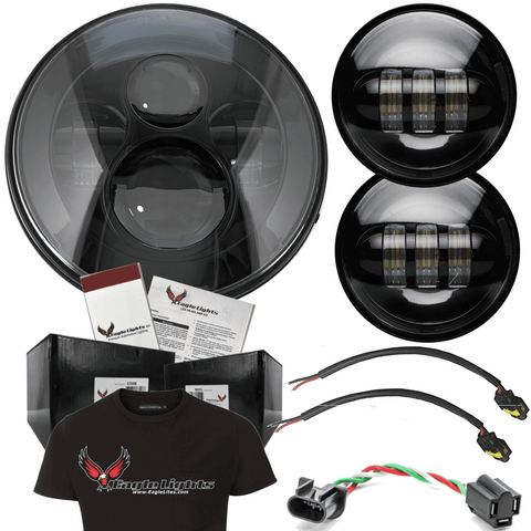 "Eagle Lights 8700 Black Harley 7"" Round LED Headlight with Matching Black Passing Lamps*"