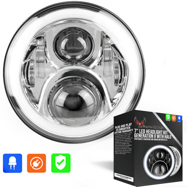"Eagle Lights 7"" LED Headlight with LED Halo Ring for Harley Davidson and Indian Motorcycles - Generation II / Chrome Kit"