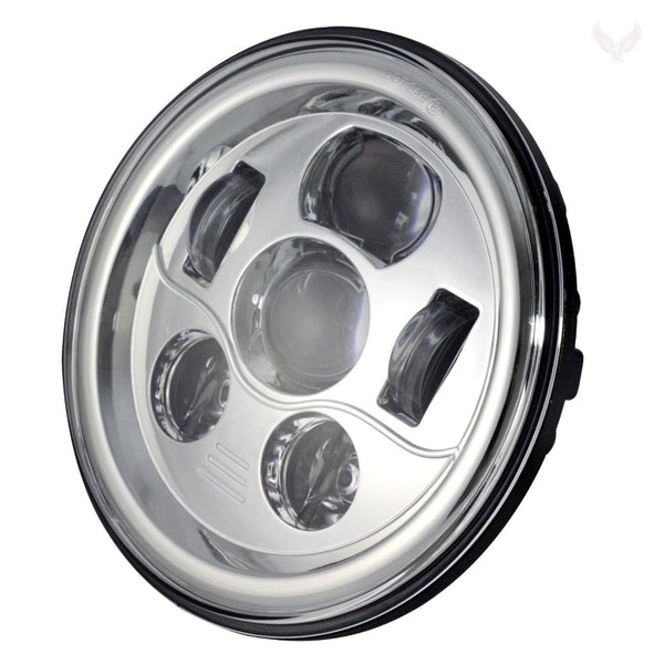 "7"" LED Headlight And Passing Lights - Eagle Lights 7"" Round LED Projection Headlight Generation III With Matching Passing Lights - Chrome*"