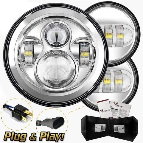 "7"" LED Headlight And Passing Lights - Eagle Lights Chrome 7"" Round LED Headlight With Matching Chrome Passing Lamps For Street Glide, Electra Glide And Harley Davidson Models With Radios"