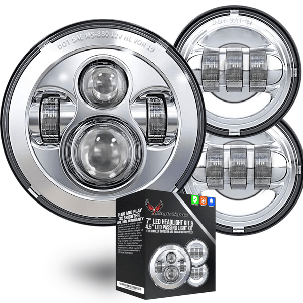 "Eagle Lights 7"" LED Headlight and 4.5"" LED Passing Light Kit for Harley Davidson and Indian Motorcycles - Generation I / Chrome"