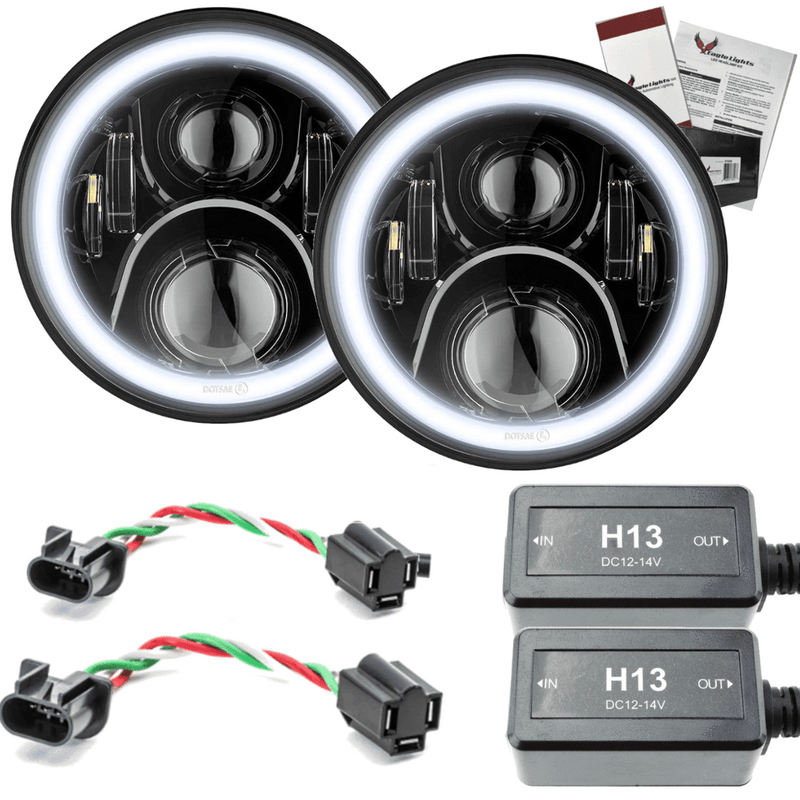 "7"" Halo LED Headlight Kits - Eagle Lights 7"" Round LED Projection Headlight Generation II- Black - Halo Ring - Jeep Wrangler"
