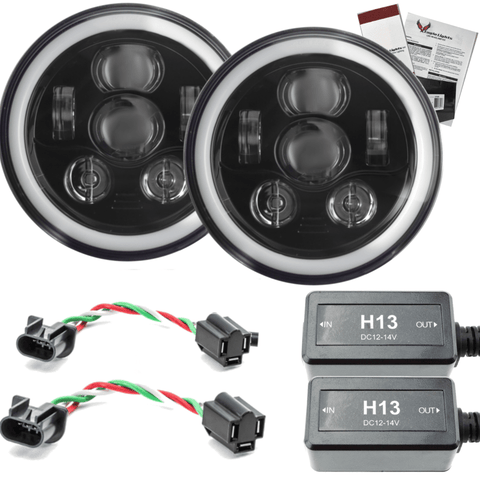 "7"" Halo LED Headlight Kits - Eagle Lights 7"" Round LED Projection Headlight Generation III- Black - Halo Ring - Jeep Wrangler"