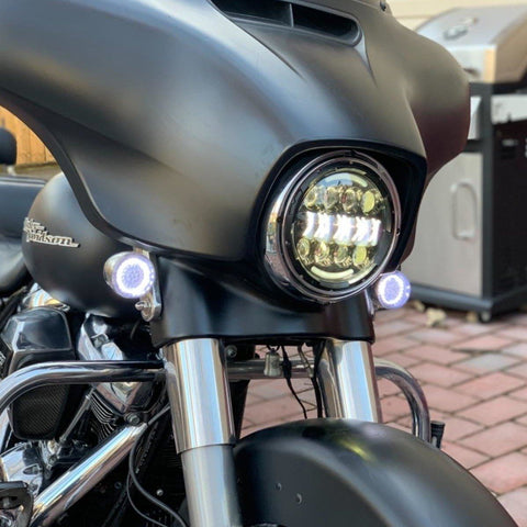 "Eagle Lights 2"" Bullet Style Front LED Turn Signal w/ Running Light Kit for Harley Davidson - (2) Front Turn Signals"