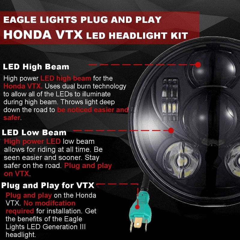 Honda VTX LED Headlights - Eagle Lights Generation III LED Headlight For Honda VTX 1300 And 1800 - Includes VTX Bracket And Hardware