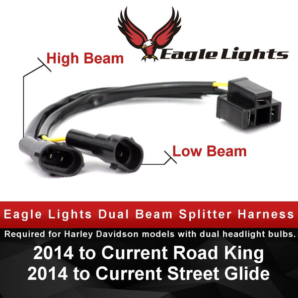 "7"" Headlight Accessory - Eagle Lights Splitter Harness Converts Dual Beam Headlights To Single LED Headlight"
