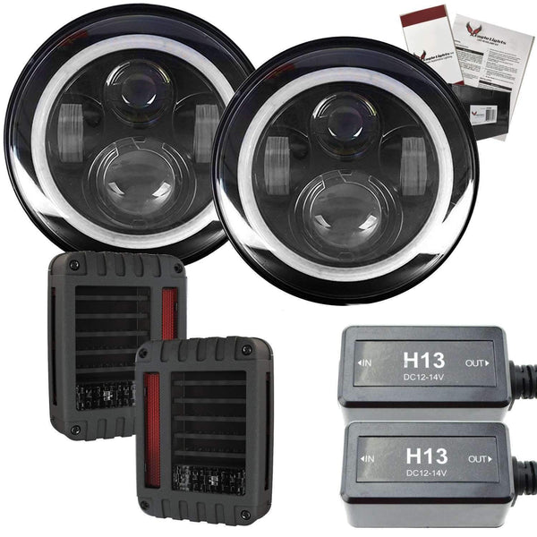 "7"" Halo LED Headlight Kits - Eagle Lights 7"" LED Headlight Kit For Jeeps With White LED Halo Rings - Double Pack*"