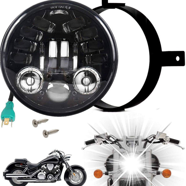Eagle Lights 5.75 inch LED Motorcycle Headlight Kit with Integrated Turn Signals for Honda VTX with Bracket and Hardware - Plug and Play fits 2002-2008 VTX 1800, VTX 1300
