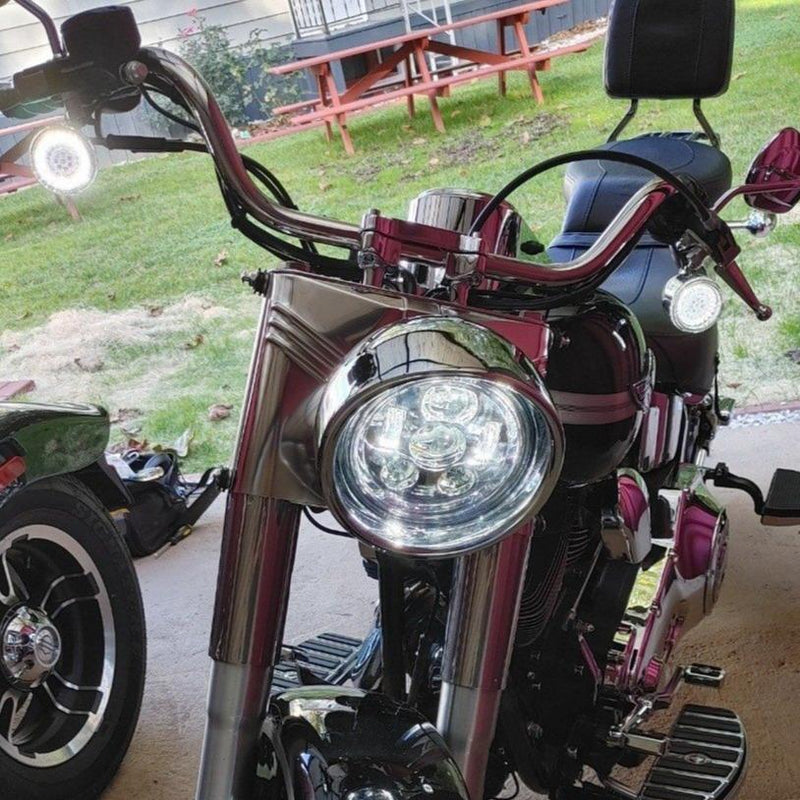 "Eagle Lights 7"" LED Headlight Kit for Harley Davidson and Indian Motorcycles - Generation III / Chrome"