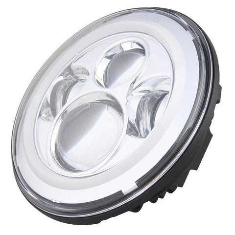 "Eagle Lights 7"" Chrome LED Projection Headlight with LED Halo Ring for Harley Davidson Motorcycles*"