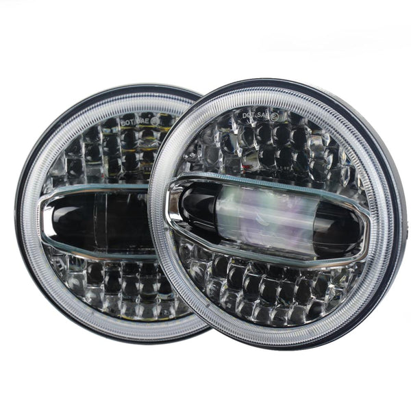 Jeep LED Lighting - Eagle Lights Sunburst Jeep Wrangler LED Headlights With Amber Turn Signals