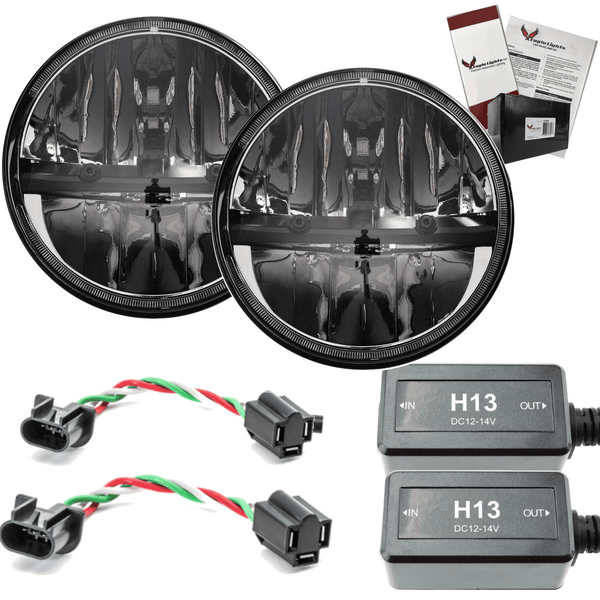 "7"" LED Headlight Kits - Eagle Lights 7"" Round LED Headlights - Jeep Wrangler CJ JK TJ 97-2015"