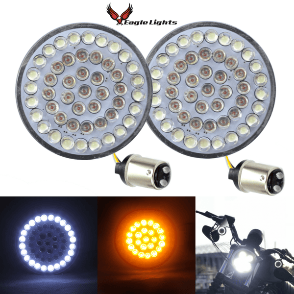 "2"" LED Front Turn Signals - Eagle Lights 2"" Bullet Style Front LED Turn Signal W/ Running Light Kit For Harley Davidson - (2) Front Turn Signals"