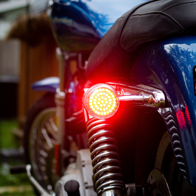 "Eagle Lights 2"" Bullet Style LED Rear Red Turn Signals for Bikes with Rear Center Tail Light - (96-13 Softail, Sportster, Dyna, Road King & More)"