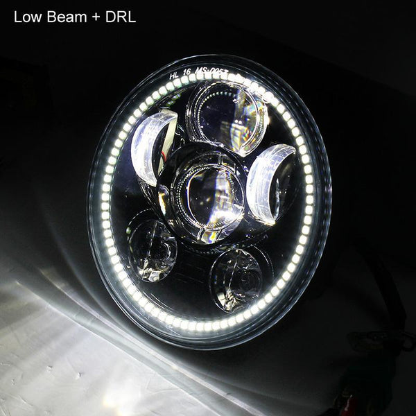 "5 ¾"" Halo & DRL LED Headlights - Eagle Lights Generation III Chrome 5 3/4"" LED Headlight With White LED Halo Ring"