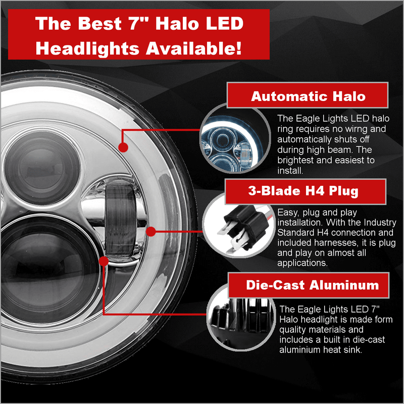 "7"" Halo & DRL LED Headlights - Eagle Lights 7"" Chrome LED Projection Headlight With LED Halo Ring For Harley Davidson Motorcycles*"